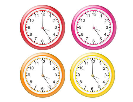 red, pink, orange and yellow watches over white background Stock Photo - 9709501