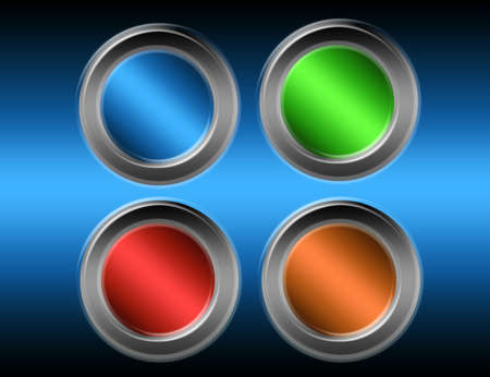 blue, green, red and orange buttons with metallic edge over blue background Stock Photo - 9709503