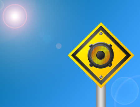 yellow and black speaker sign over sky with sun background photo