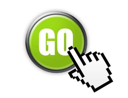 go green button with metallic edge over white background Stock Photo - 9709464