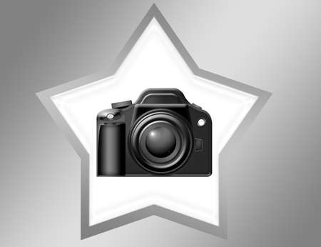 black camera over white star with silver edge over silver background Stock Photo - 9709482