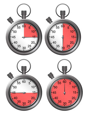time over: metallic timers isolated measuring time over white  background