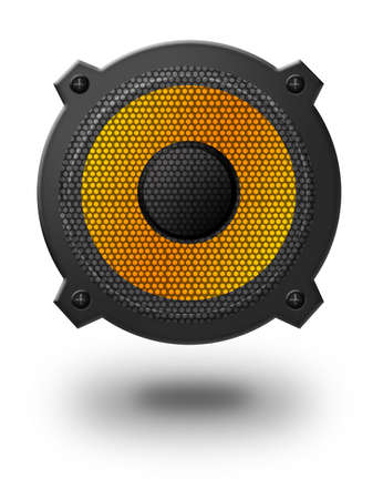 tweeter: black and yellow speaker with shadow over white background