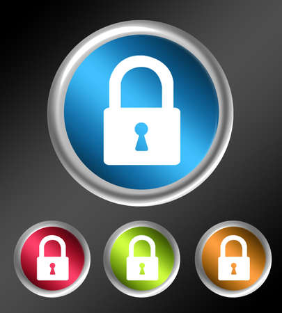 blue, red, green and orange lock button over gray background photo
