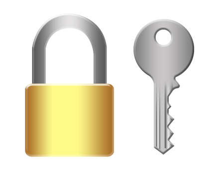 gold and silver padlock and silver key isolated over white background Stock Photo - 9709531