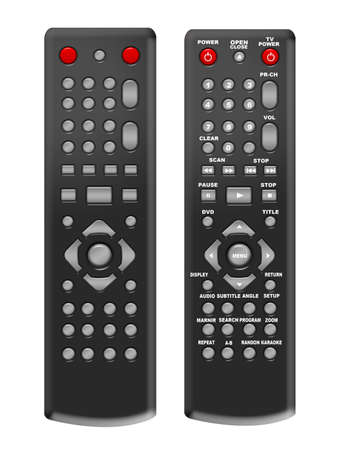 black remote control isolated with numbers and without numbers over white background photo