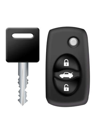 black key and car alarm isolated over white background  photo