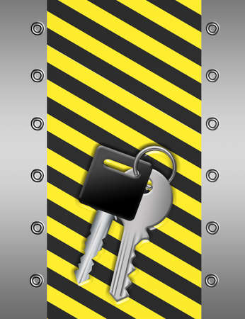 key chain over yellow and black lines and silver metallic edge photo