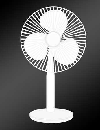 oscillate: white long fan  over black background.illustration