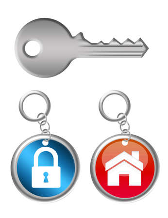red and blue keychains with house and padlock with key over white background Stock Photo - 9853381
