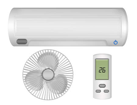 condition: air conditioning, ventilator, control isolated over white background