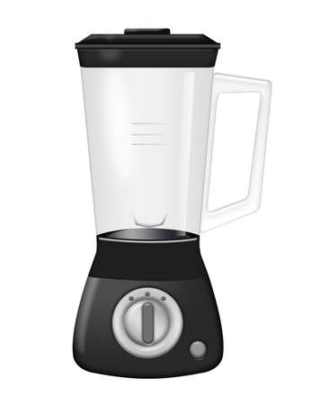 black blender with buttons  isolated over white background photo