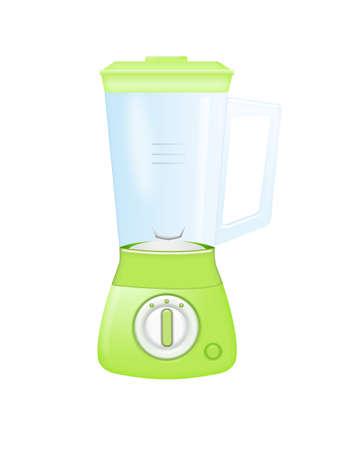 green blender with glass beaker isolated over white background photo