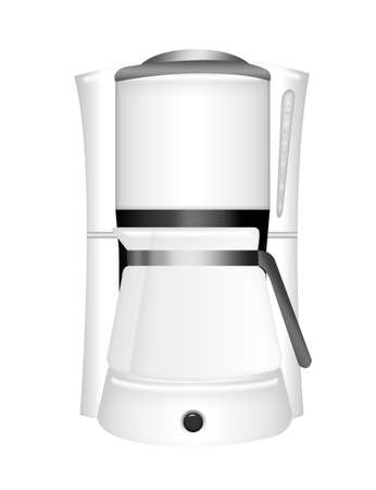 white coffee machine with glass beaker isolated over white background photo