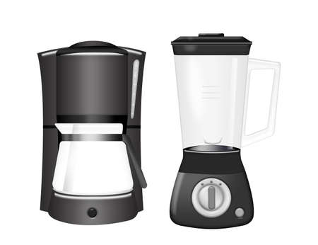 coffee blender: black coffee machine and blender isolated over white background