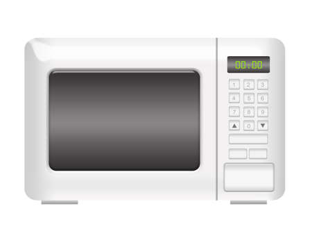 white microwave with numbers isolated over white background photo