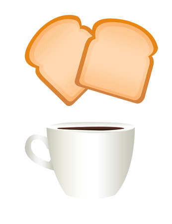 white coffee cup and breads isolated over white background Stock Photo - 9853263