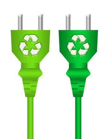 green recycle plugs isolated over white background.illustration Stock Illustration - 9853326