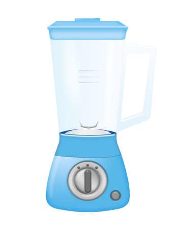 blue blender with glass beaker isolated over white background photo