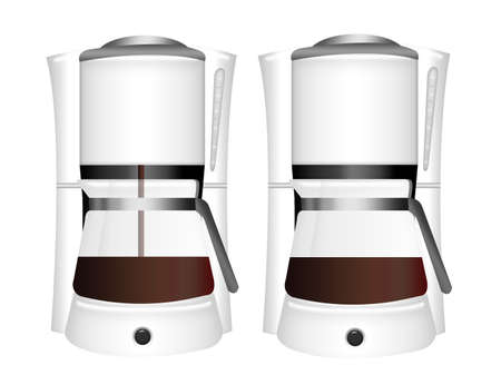 black coffee machines with coffee isolated over white background photo