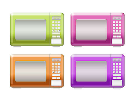 microwaves: green, pink, orange, purple microwaves isolated over white background