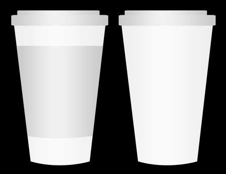 white and gray plastic cup isolated over black backgraund photo