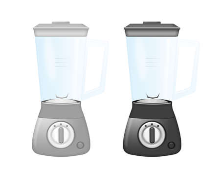 silver and black blenders isolated over white backgrounda photo