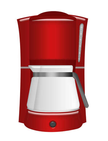 red coffee machine isolated over white background  photo