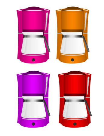 pink, orange, purple, red coffee machines isolated over white background photo