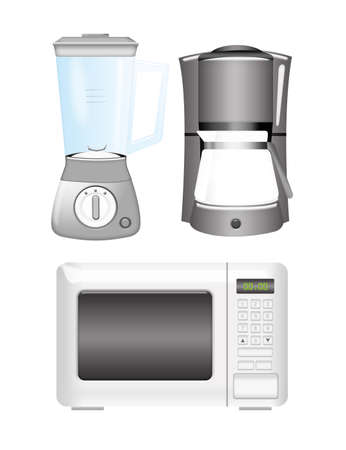 coffee blender: silver blender, coffee machine and microwave isolated over white background