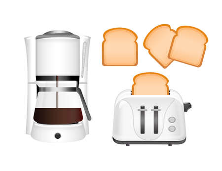 white coffee machine and toaster with bread isolated over white background photo