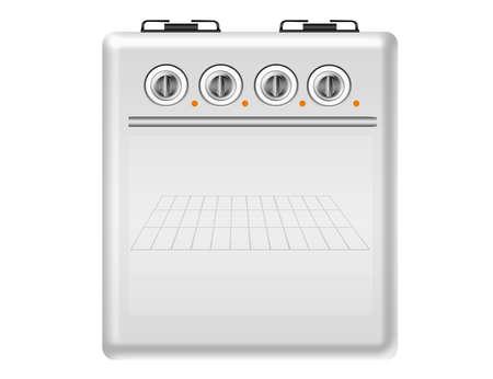 grates: white stove isolated over white background.illustration
