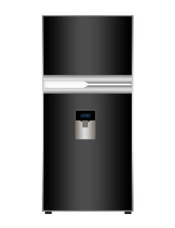 black fridge isolate over white backgroud.illustration illustration