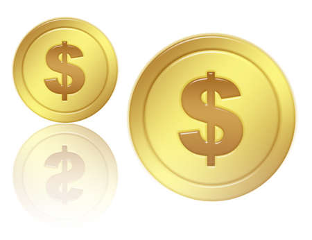 gold coins with shandow and isolated  over white background.illustration Stock Illustration - 9853379