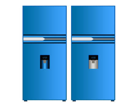 blue fridge isolated over white background.illustration illustration