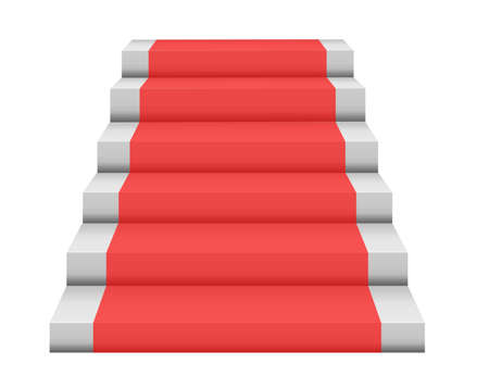 red rug: gray steps with red rug isolated over white background Stock Photo
