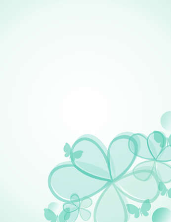 green flowers, butterflies and circles  background illustration illustration