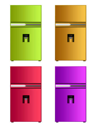 green, orange, red and violet colored fridge isolated over white background photo