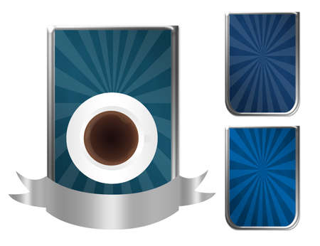 blue and silver coffee label isolated over white background Stock Photo - 9853431