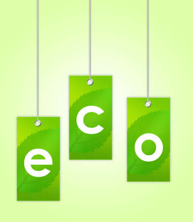 green eco labels over green and white background.illustration illustration