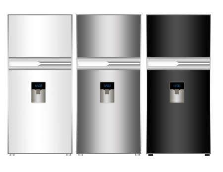 white, silver and black fridge isolated over white background photo