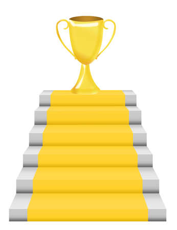 step up: gold trophy and gray steps with yellow rug isolated over white background