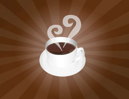 white coffee cup over brown background.illustration Stock Illustration - 9853614