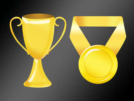 gold trophy and medal isolated over black background photo