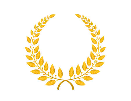 laurel leaf: gold laurel wreath isolated over white background