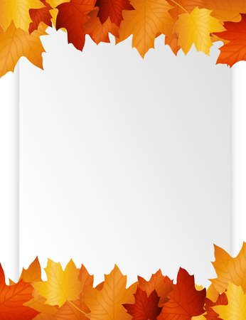 fall border: brown and white  blank paper autumn leaf.illustration  Stock Photo