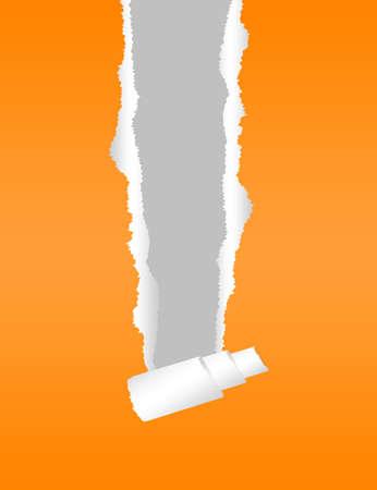 orange torn paper over gray background. illustration illustration