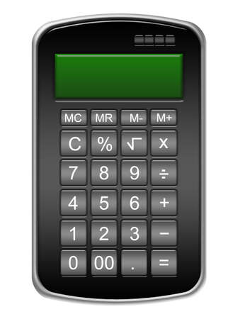 black calculator with numbers isolated over white backgjround Stock Photo - 9853619