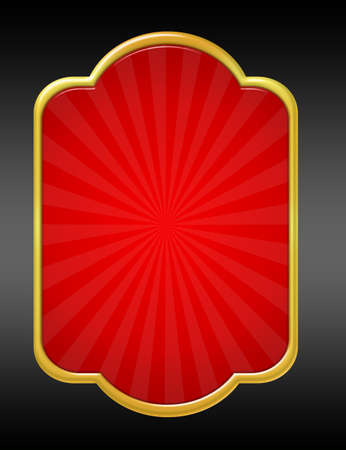 red and  gold edge blank label isolated over black background.illustration Stock Illustration - 9853553