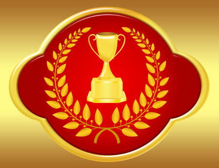 gold and red trophy and laurel wreath over gold background photo